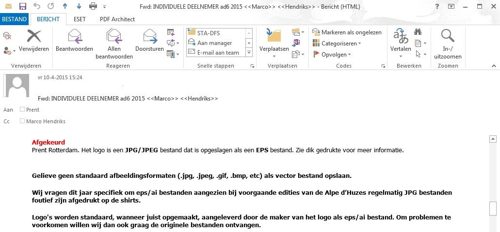 Prent Rotterdam EM afkeuring